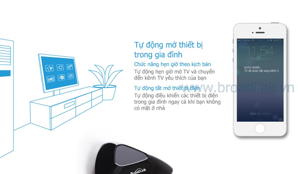 Broadlink RM2 tự động bật tắt mọi thiết bị trong nhà