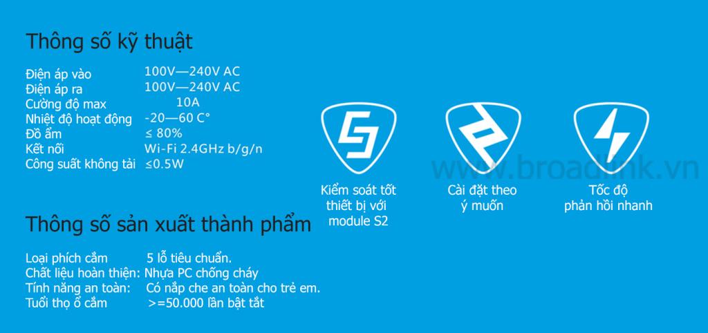 Thông số kỹ thuật Broadlink SP2