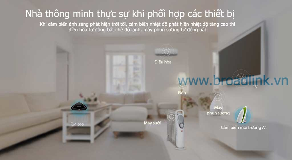 Trung tâm điều khiển nhà thông minh RM-Pro có thể kết hợp điều khiển các thiết bị trong nhà
