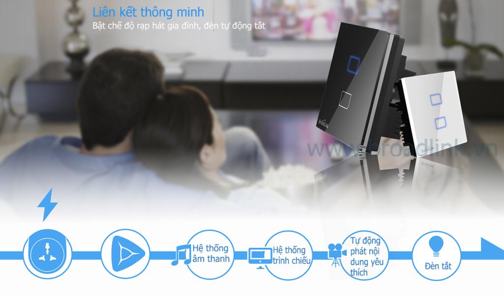 Công tắc thông minh Broadlink TC1 có thể kết hợp với RM2 điều khiển theo ngữ cảnh