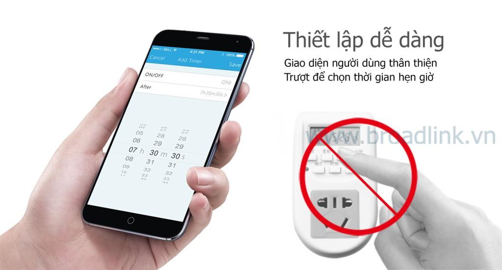 Ổ cắm thông minh Wifi Broadlink SP-Mini thiết lập dễ dàng