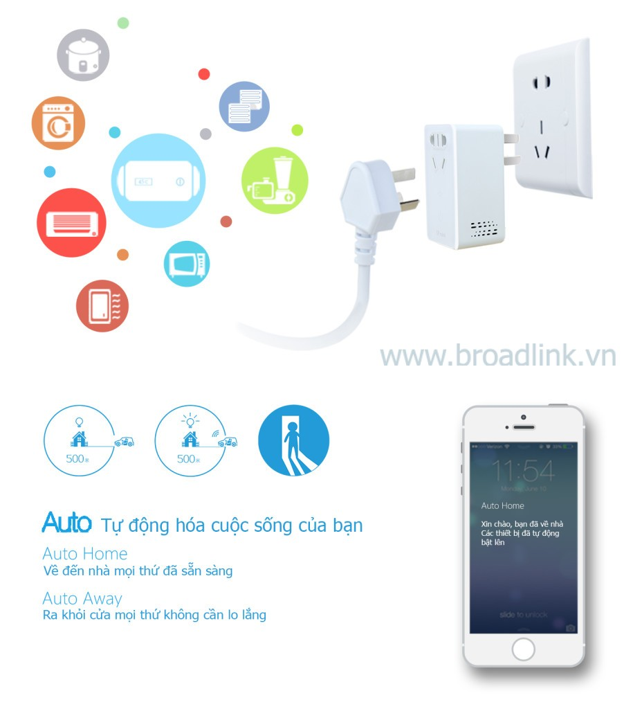 Ổ cắm thông minh Wifi Broadlink SP-Mini có nhiều chế độ tự động