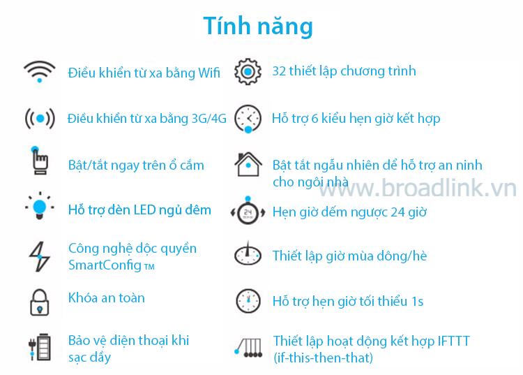 Các tính năng của ổ cắm thông minh wifi Broadlink SP3