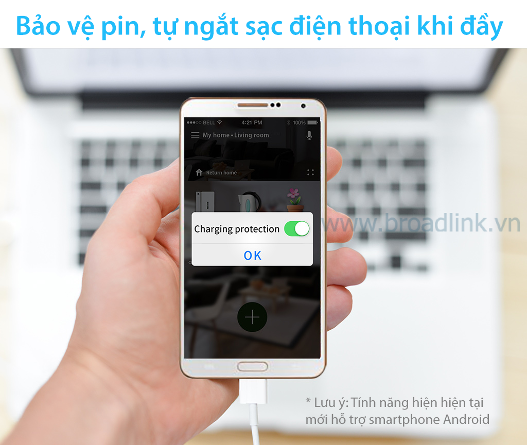 Ổ cắm thông minh wifi Broadlink Sp3 tự động ngắt sạc điện thoại khi sạc đầy