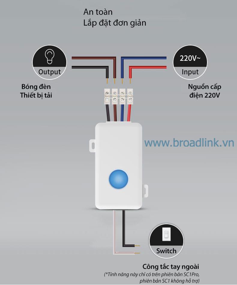 Hộp công tắc thông minh Wifi Broadlink SC1PRO có cách lắp đặt đơn giản