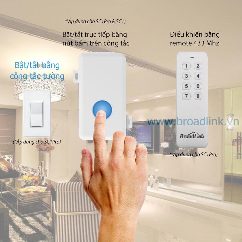 Hộp công tắc thông minh Wifi Broadlink SC1PRO điều khiển bằng nhiều cách