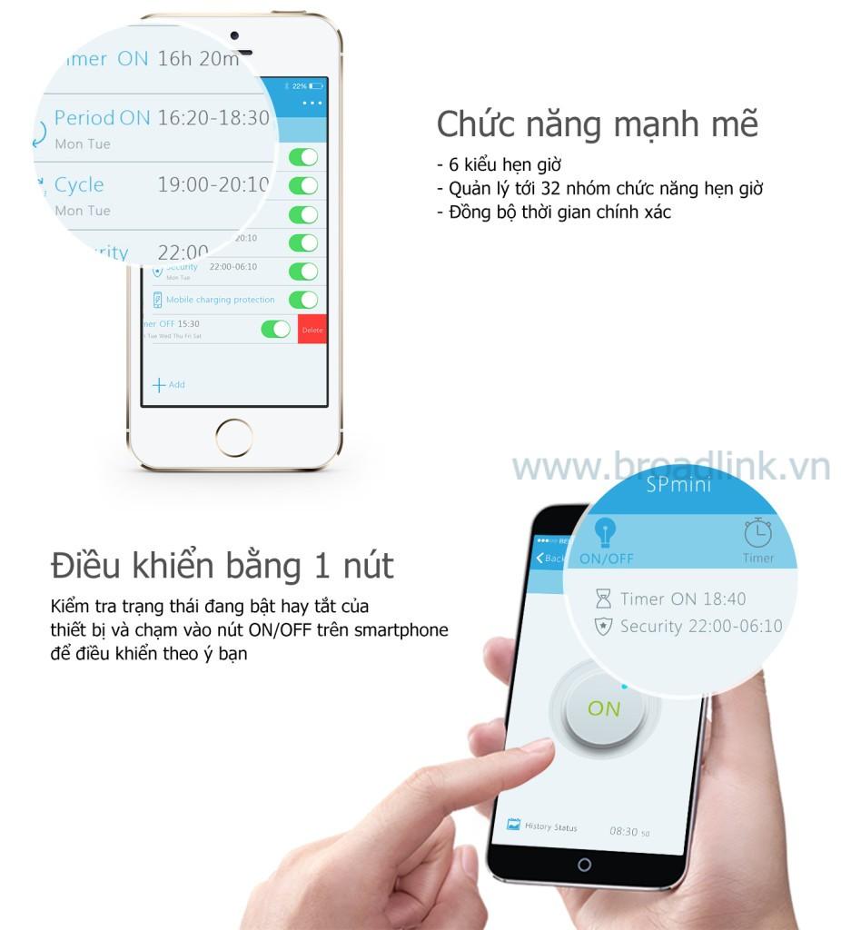Ổ cắm thông minh Wifi Broadlink SP-Mini có nhiều chức năng thông minh