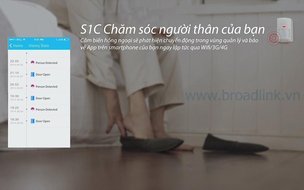 Trung tâm kiểm soát an ninh Broadlink Smartone S1C có thể  báo cho bạn biết khi phát hiện chuyển động từ cảm biến