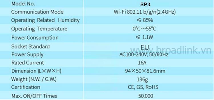 Thông số kỹ thuật Broadlink SP3
