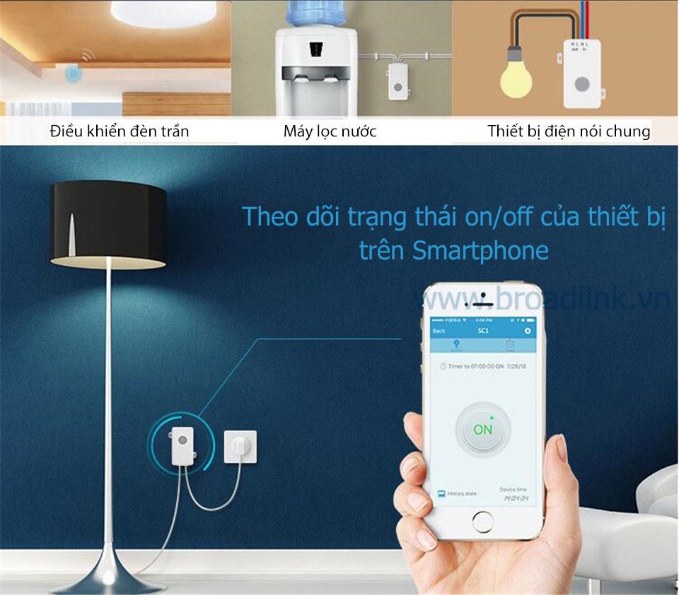Hộp công tắc thông minh Wifi Broadlink SC1PRO cho bạn biết được trạng thái thiết bị bật hay tắt trên ứng dụng smartphone
